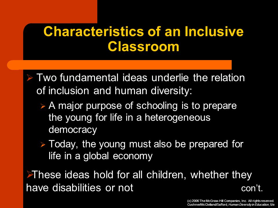 Characteristics of an Inclusive Classroom