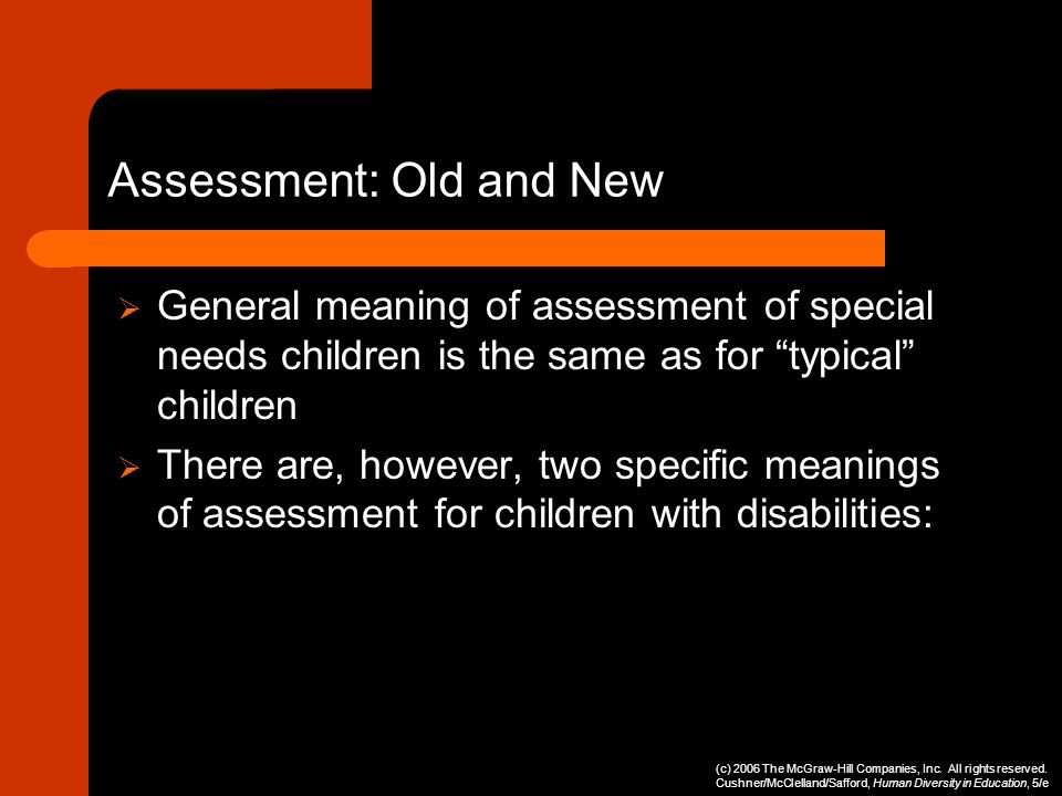 Assessment: Old and New