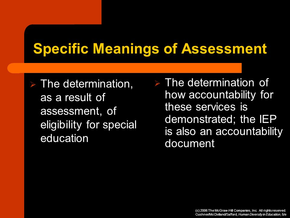 Specific Meanings of Assessment