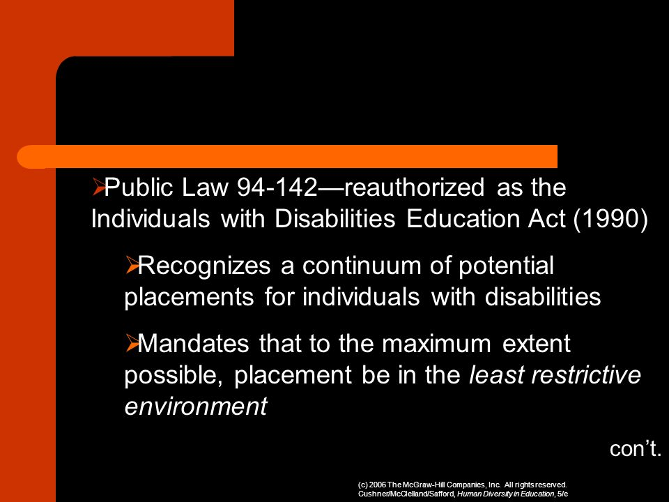 Public Law —reauthorized as the Individuals with Disabilities Education Act (1990)