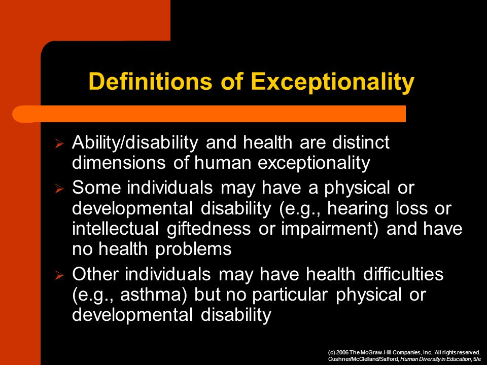 Definitions of Exceptionality