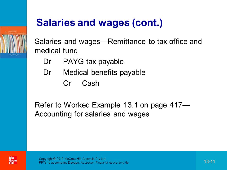 Salaries and wages (cont.)