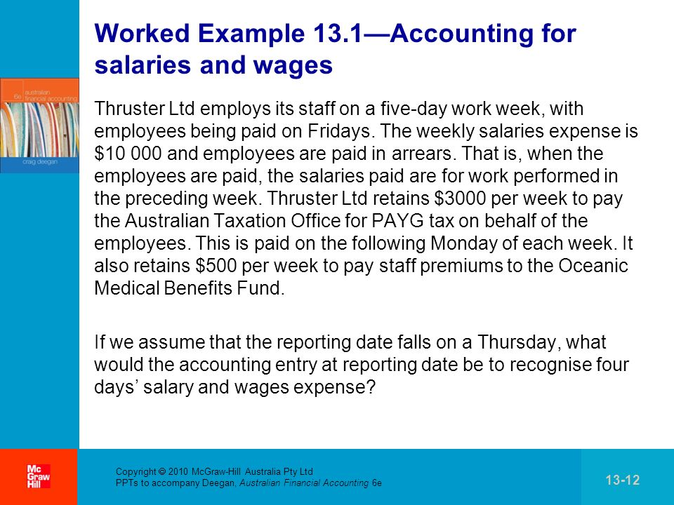 Worked Example 13.1—Accounting for salaries and wages