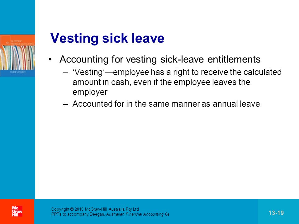 Vesting sick leave Accounting for vesting sick-leave entitlements