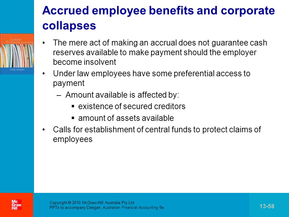 Accrued employee benefits and corporate collapses