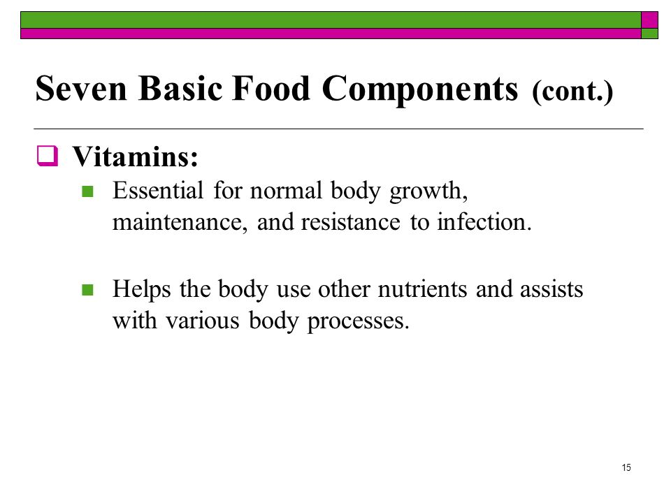 Seven Basic Food Components (cont.)