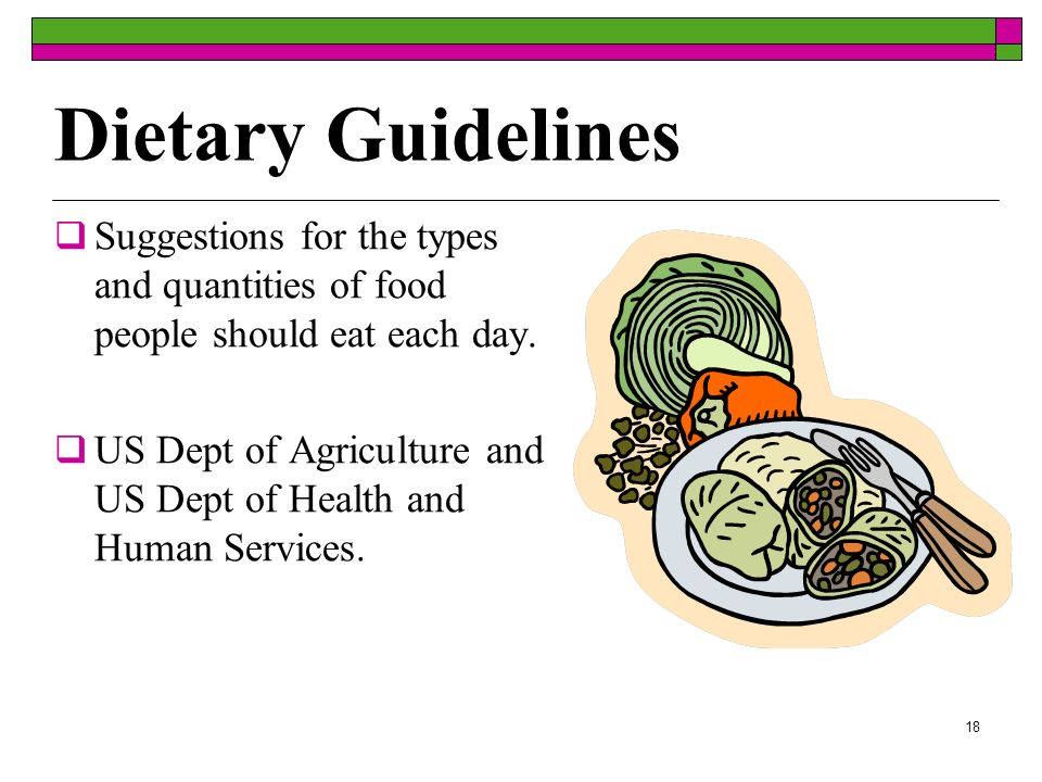 Dietary Guidelines Suggestions for the types and quantities of food people should eat each day.