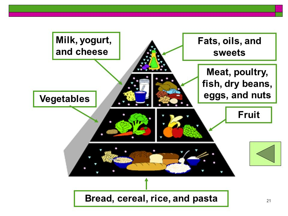 Food Guide Pyramid Milk, yogurt, and cheese Fats, oils, and sweets