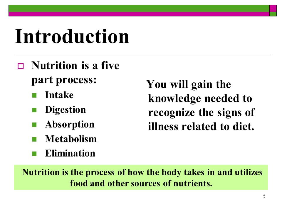 Introduction Nutrition is a five part process: