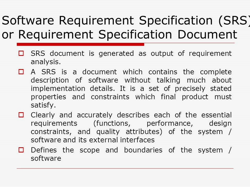 UnitIi Chapter  Software Requirement SpecificationSrs  Ppt Download