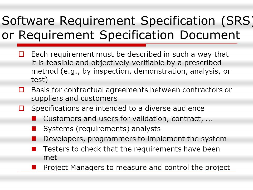 software requirements specification srs The software requirements specification (srs) template and template instructions are included within the within the system development life cycle (sdlc) extension of the texas.