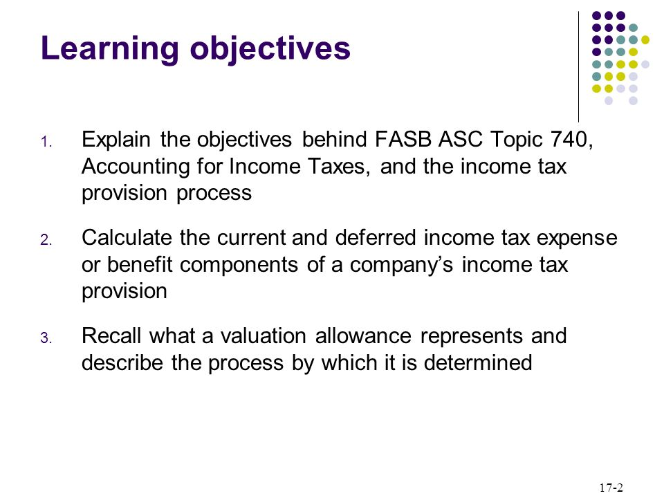 Learning objectives Explain the objectives behind FASB ASC Topic 740, Accounting for Income Taxes, and the income tax provision process.