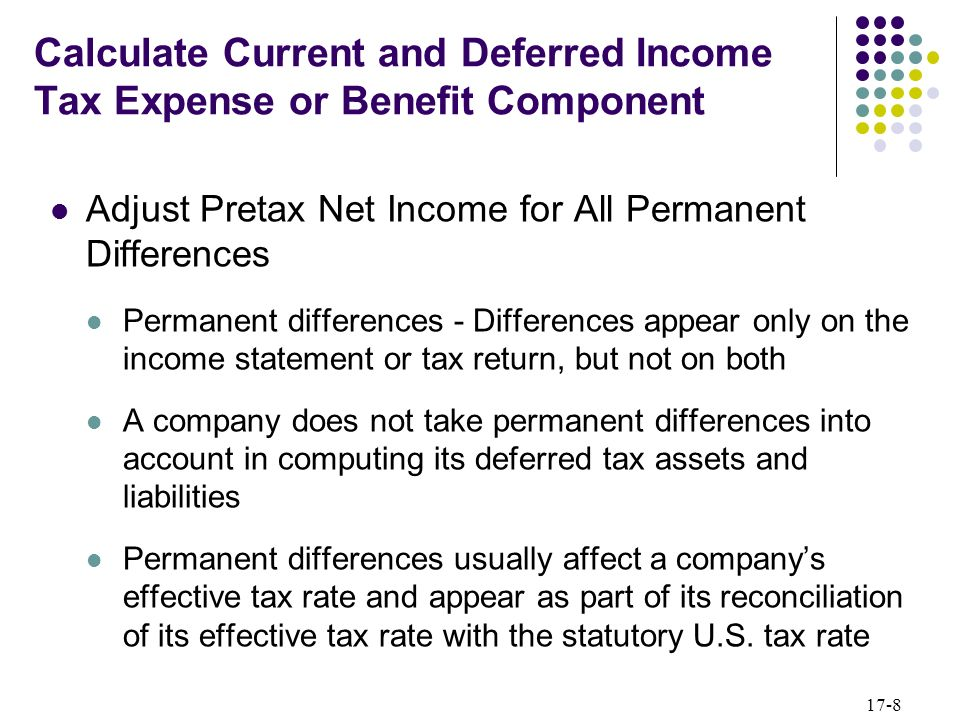 Calculate Current and Deferred Income Tax Expense or Benefit Component