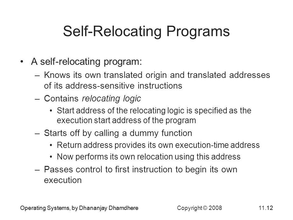 Self-Relocating Programs