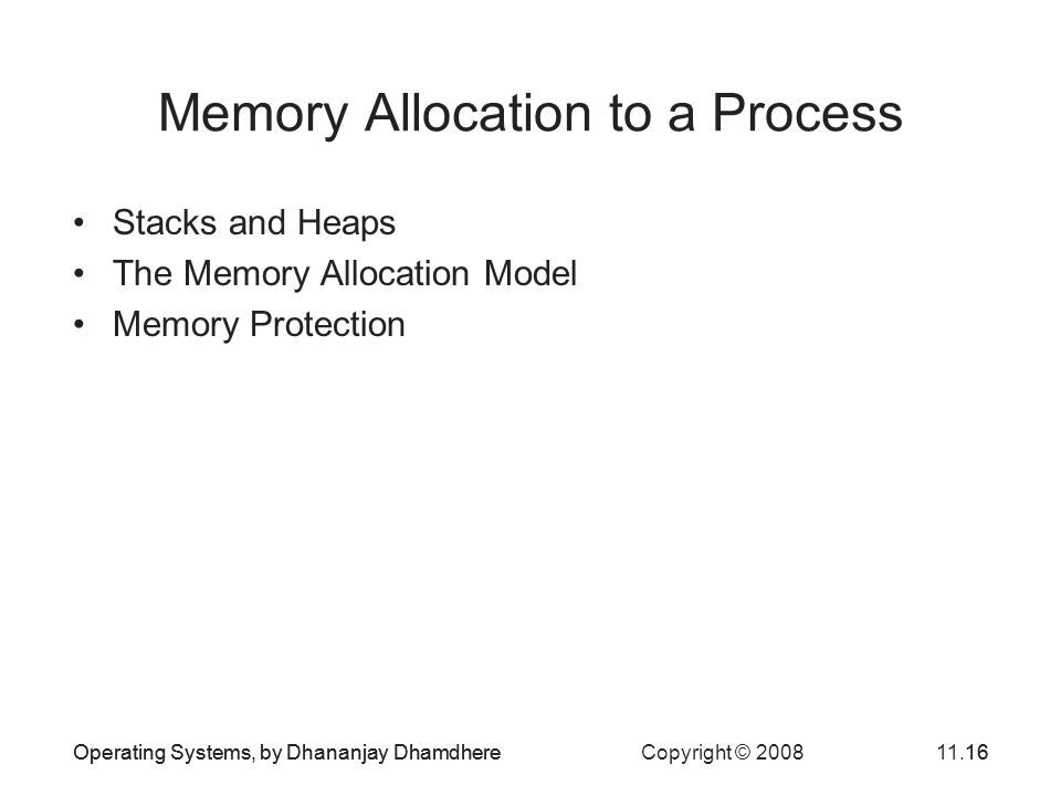 Memory Allocation to a Process