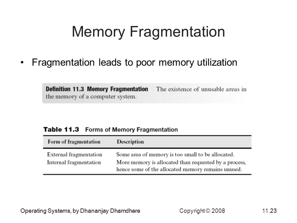 Memory Fragmentation Fragmentation leads to poor memory utilization