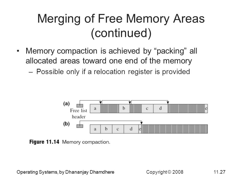 Merging of Free Memory Areas (continued)