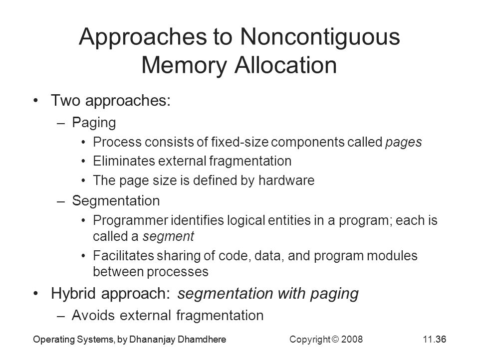 Approaches to Noncontiguous Memory Allocation