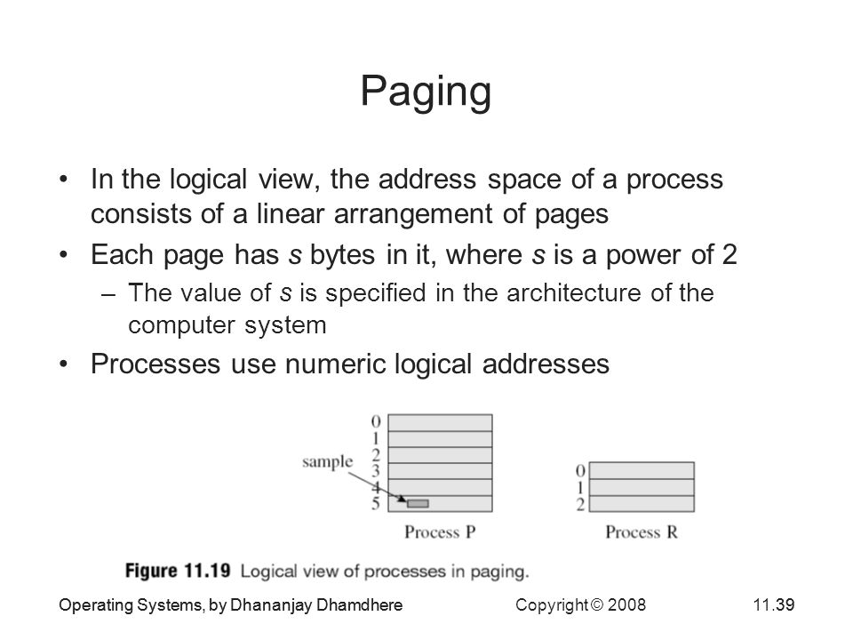 Paging In the logical view, the address space of a process consists of a linear arrangement of pages.