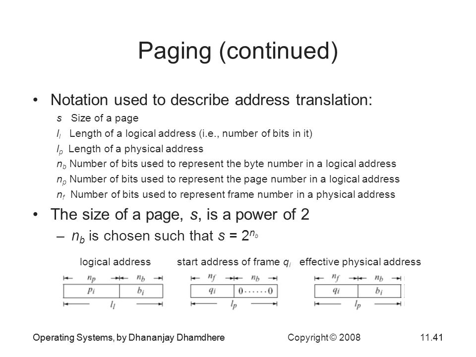 Paging (continued) Notation used to describe address translation: