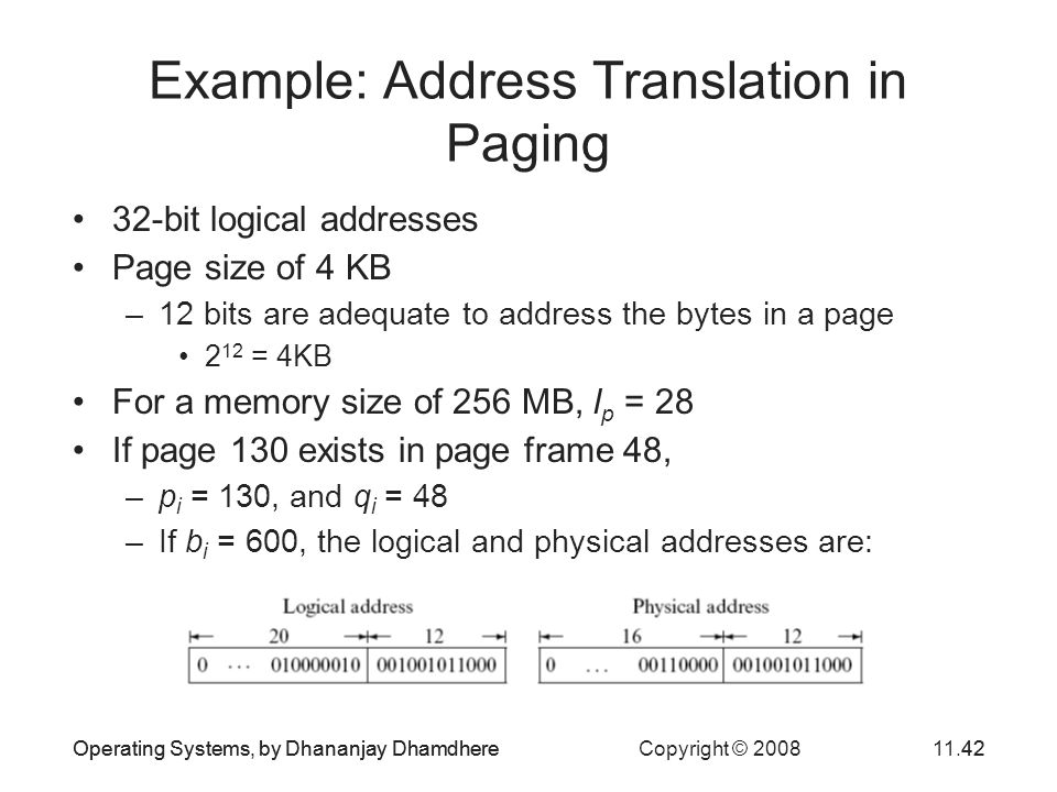 Example: Address Translation in Paging
