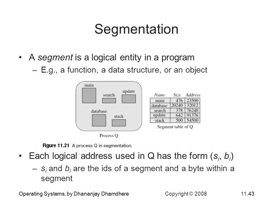 Segmentation A segment is a logical entity in a program