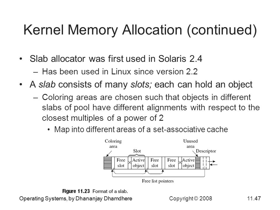 Kernel Memory Allocation (continued)