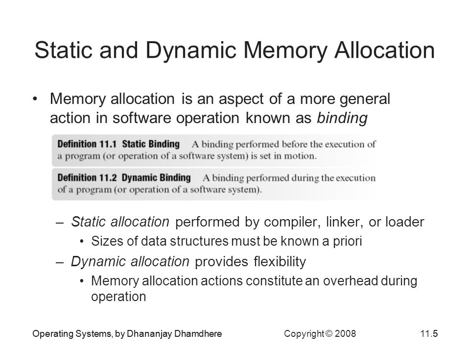 Static and Dynamic Memory Allocation