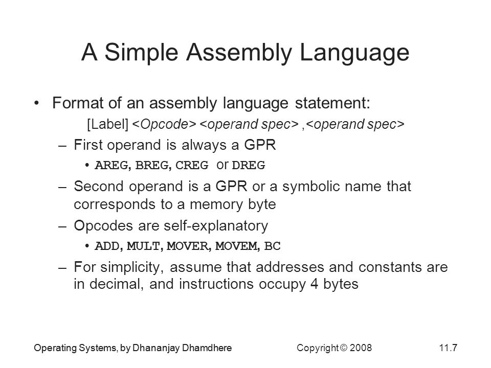 A Simple Assembly Language