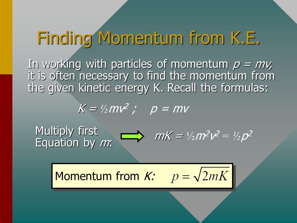 Finding Momentum from K.E.