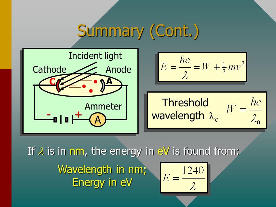 Summary (Cont.) + - A Threshold wavelength lo