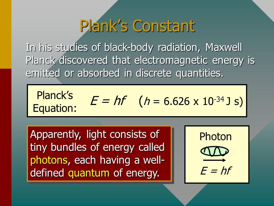 Plank's Constant E = hf (h = 6.626 x 10-34 J s)