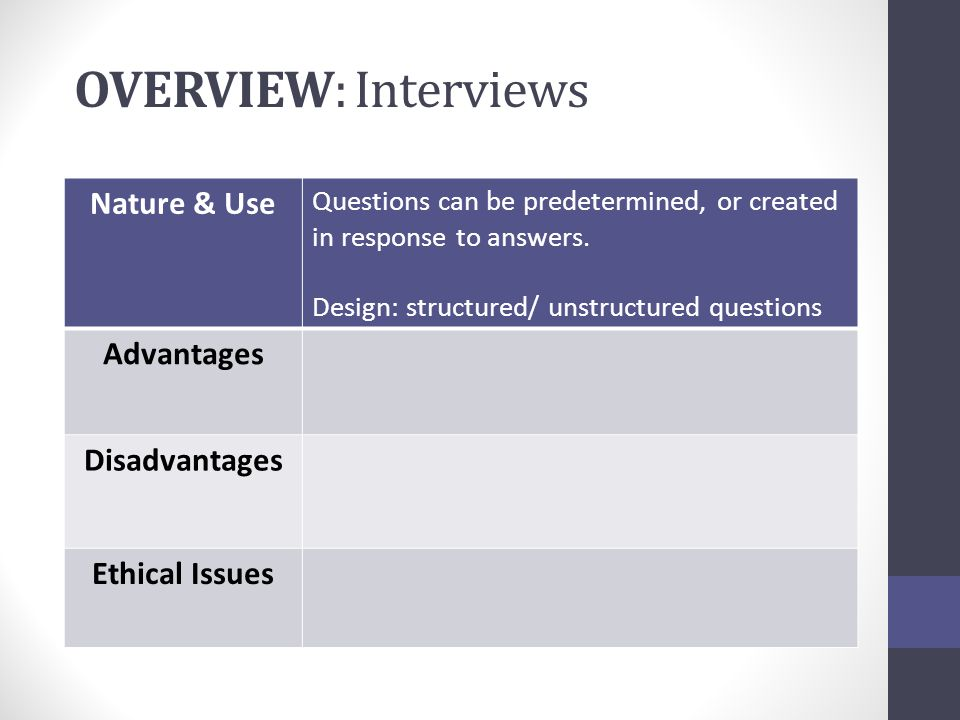 overview interviews nature use advantages disadvantages - Structured Interview Questions And Answers Advantages And Disadvantages