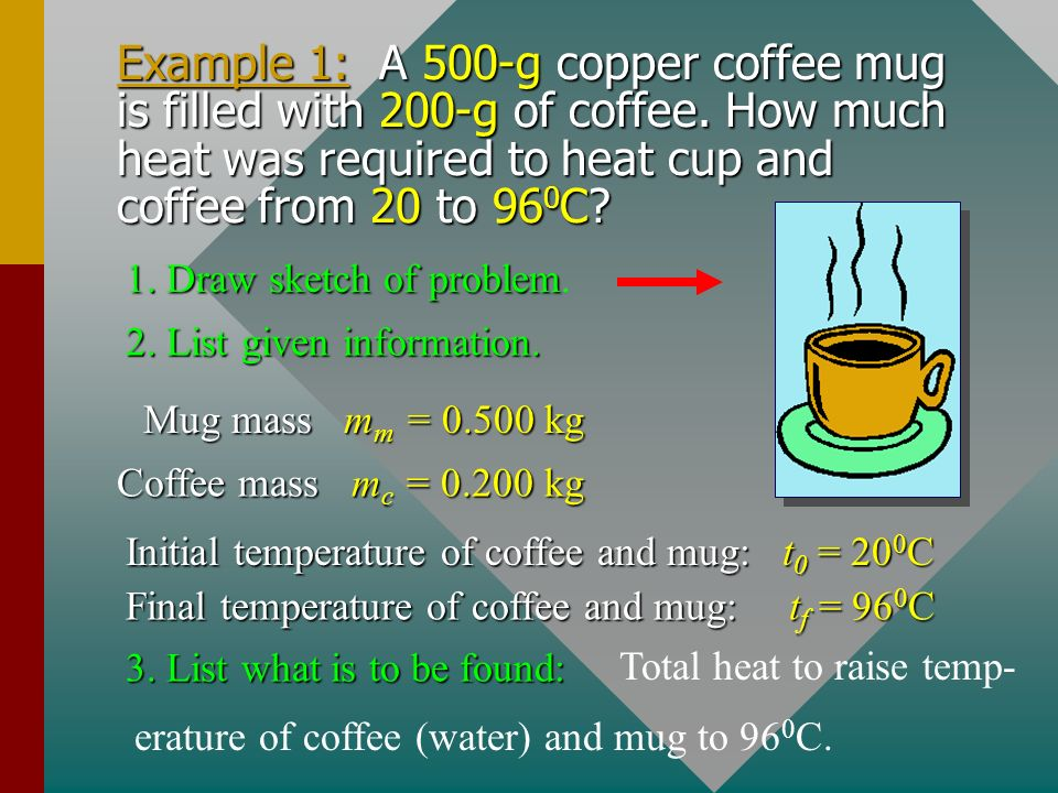 Example 1: A 500-g copper coffee mug is filled with 200-g of coffee