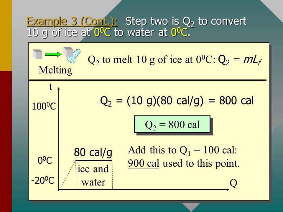 Q2 to melt 10 g of ice at 00C: Q2 = mLf