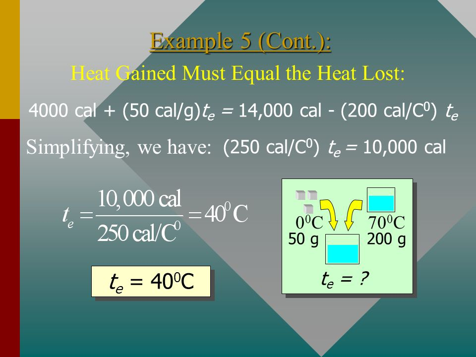 Heat Gained Must Equal the Heat Lost: