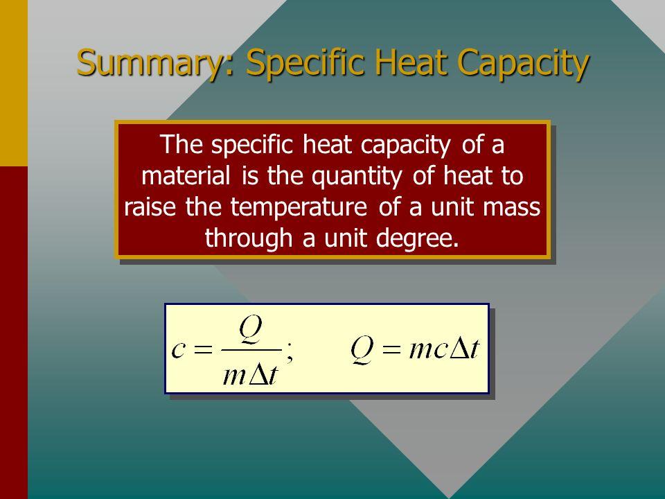 Summary: Specific Heat Capacity