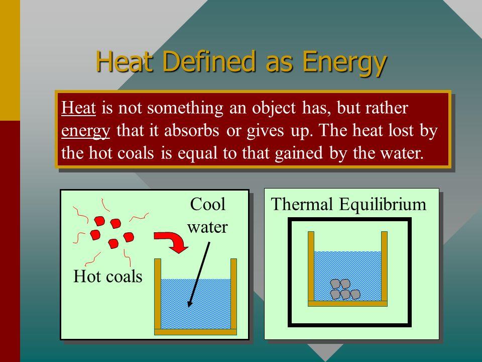 Heat Defined as Energy
