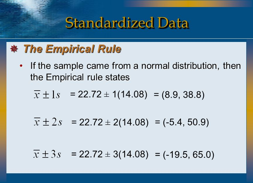 Standardized Data The Empirical Rule