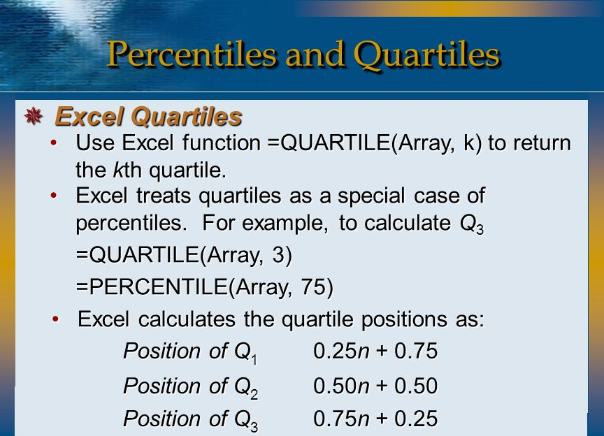 how to use quartile function in excel