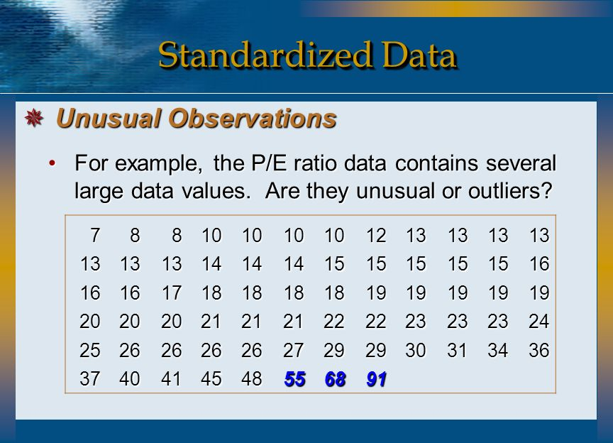 Standardized Data Unusual Observations