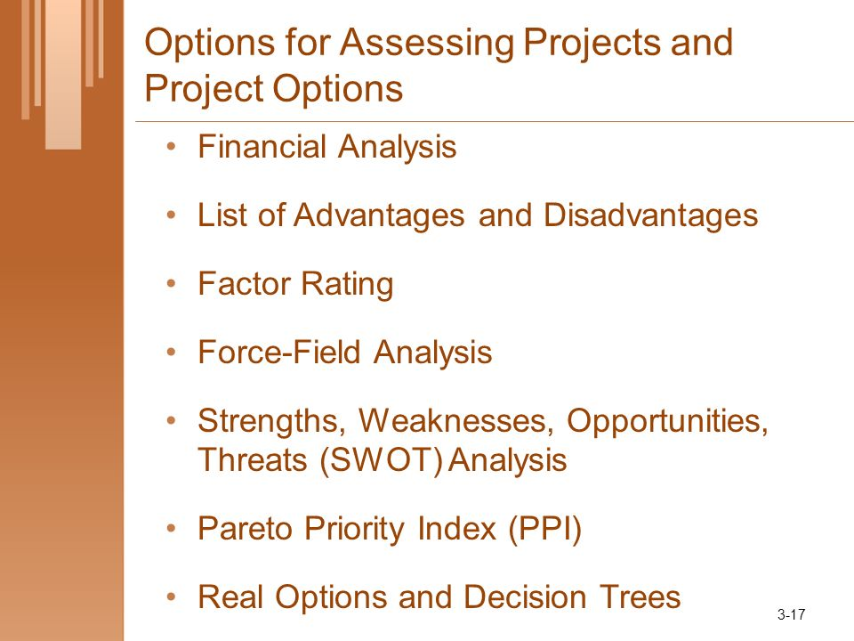 Options for Assessing Projects and Project Options