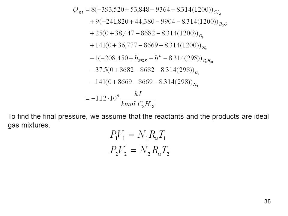 To find the final pressure, we assume that the reactants and the products are ideal-gas mixtures.