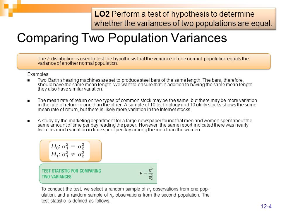 Comparing Two Population Variances