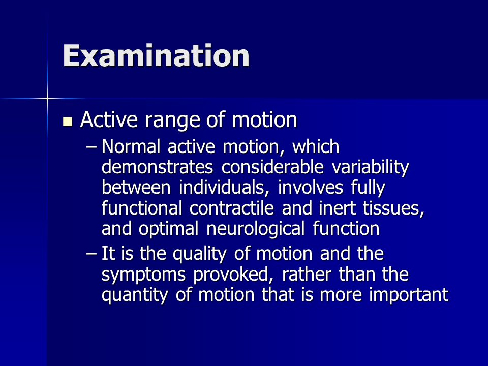 Examination Active range of motion