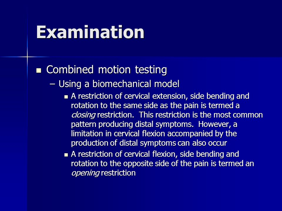 Examination Combined motion testing Using a biomechanical model
