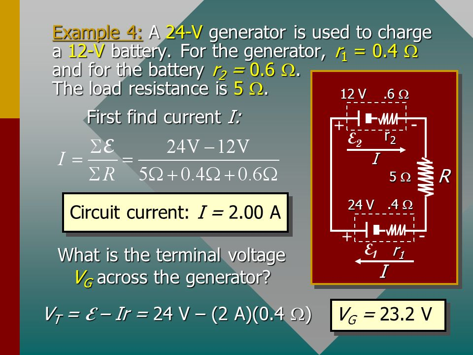 What is the terminal voltage VG across the generator
