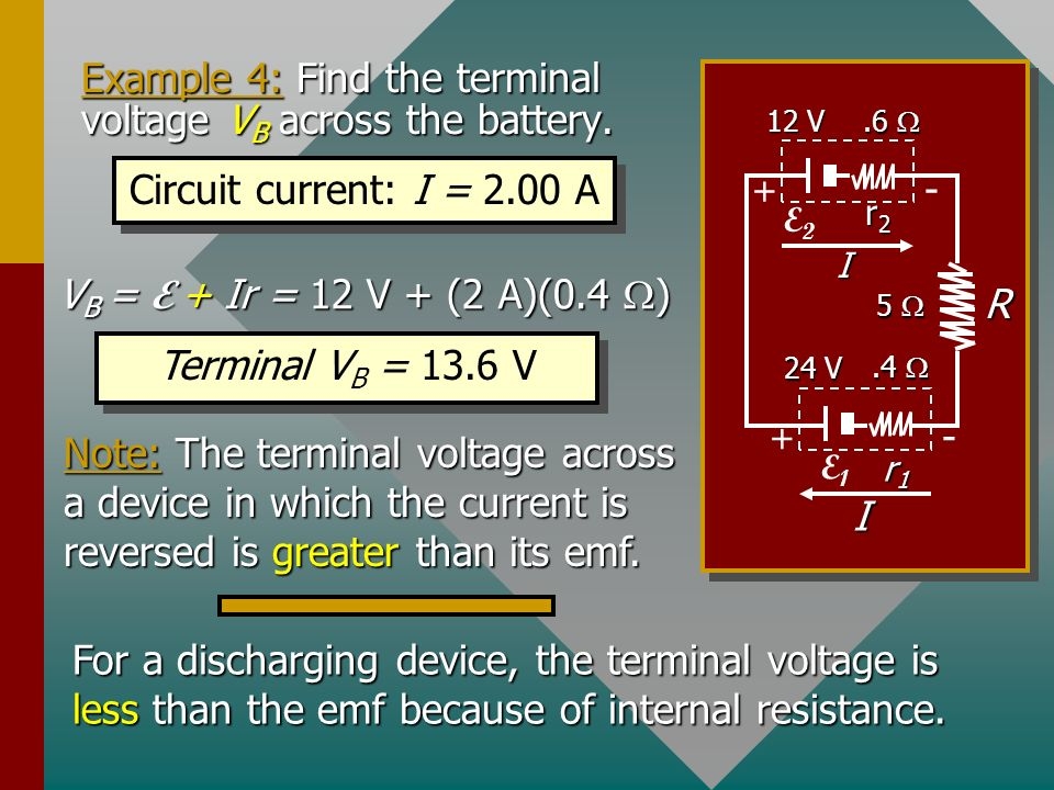 Example 4: Find the terminal voltage VB across the battery.