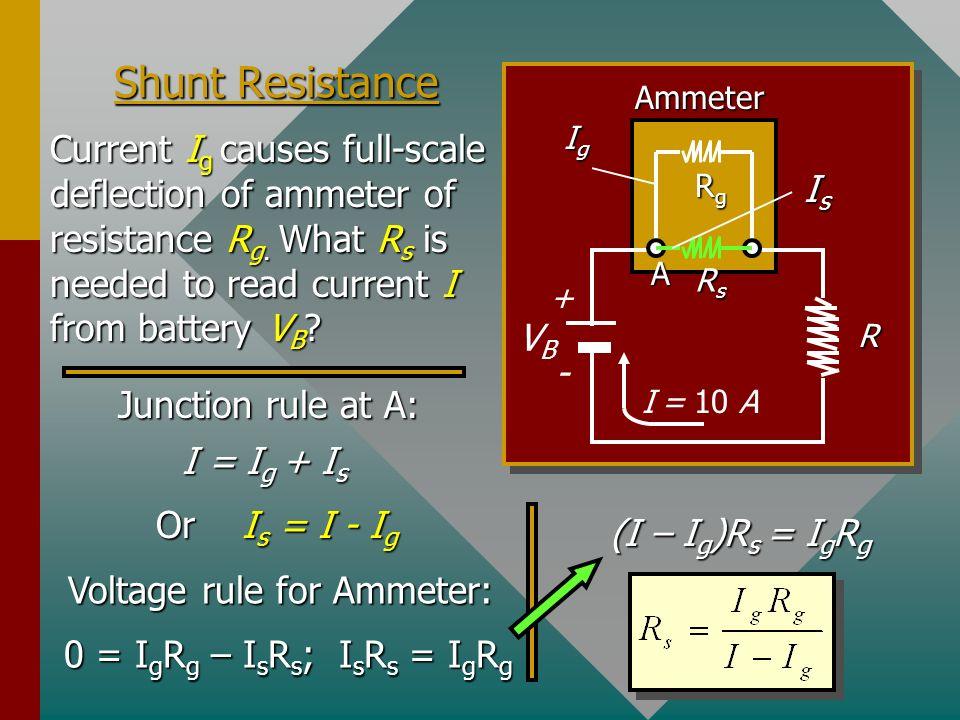 Shunt Resistance VB. - + Ammeter. R. Ig. I = 10 A. Rs. A. Rg. Is.