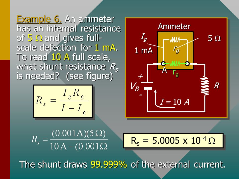The shunt draws 99.999% of the external current.